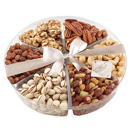 Broadway Basketeer's Gourmet Food Fresh Nuts Tray 6 Section Assortment Round