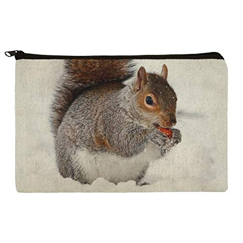Squirrel Eating in Winter Makeup Cosmetic Bag Organizer Pouch