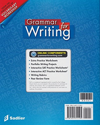 Amazon.com: Grammar for Writing, Common Core Enriched Edition ...