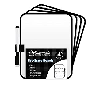Thornton's Office Supplies Dry-Erase 6 x 8 Whiteboards with Marker and Magnet Strips, Pack of 4