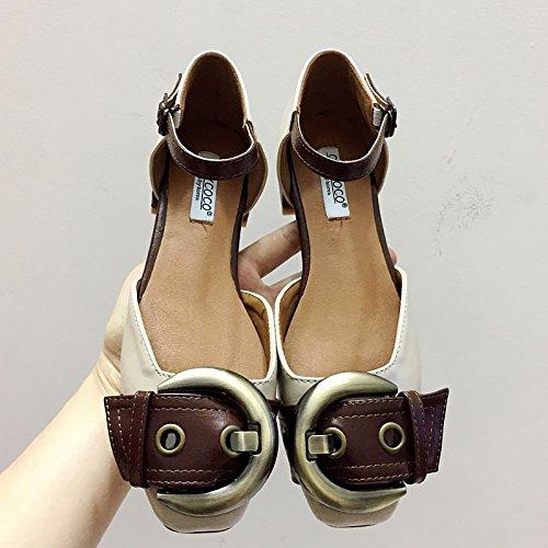 GLTER Femmes Pommeau de cheville Pommes Mules Chaussures à talons hauts Chaussures Sandales Ceinture de tête carrée Couleur de sorts Chaussures décontractées Abricot noir