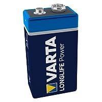 Varta 4922121411 Longlife Power Batterie (9V Block, Alkaline, 6LR61, 1er Pack) (Design/Produktname kann abweichen)