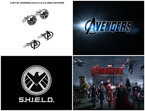 Marvel Comics (2-Set) Avengers and S.H.I.E.L.D Logos Wedding Groomsman Gifts Cuff Links with Gift Box By Athena - Collectors Case Cufflinks