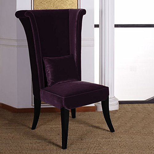 - Armen Living LC847SIPU Mad Hatter Dining Chair in Purple Velvet and Black Wood Finish