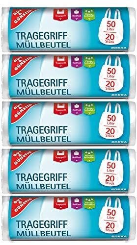 20 St/ück pro Rolle 5er Pack Rei/ßfest /& Fl/üssigkeitsdicht 100 M/üllbeutel//M/üllt/üten mit Tragegriff 50 Liter Produkt /& Verpackung recyclebar