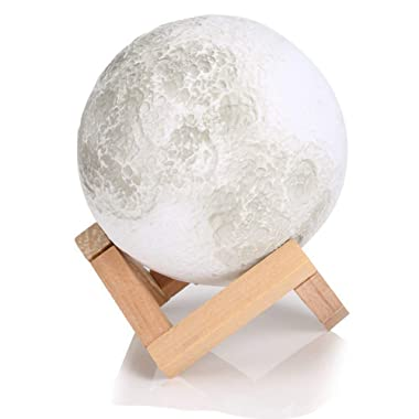 Enchanted 3D LED Night Light Moon Lamp,with Wooden Dock, Warm and Cool 3 Colors Dimmable Brightness Adjustment, Best Home Bedroom Decorative Luna Lamp Light and Romantic Gift (5.12In)