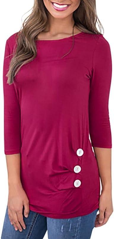 Lavany Womens Loose Tunic Tops Bandage V Neck Blouse Short Sleeve Casual T Shirts
