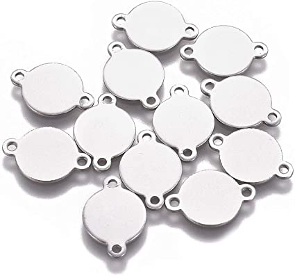4 stainless steel medallion charms 38 x 35 mm
