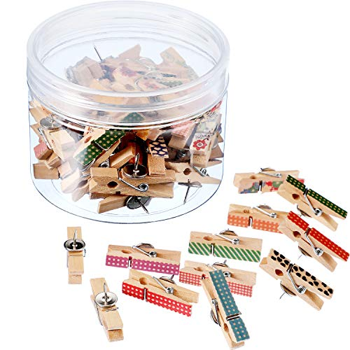 Push Pins with Wooden Clips Pushpins Tacks Thumbtacks for Cork Boards Artworks Notes Photos and Craft Projects (50 Pieces, Color Set 2) (Artwork Board)