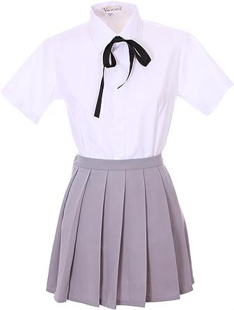 JapanAttitude Traje Adolescente Japonesa Cosplay Gris y Camisa Blanca Gris Small: Amazon.es: Ropa y accesorios