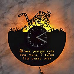 Winnie The Pooh Quote Winnie and Tiger Disney Art Night Light Wall Lights Vinyl Record Wall Clock Wall Art Decor Vinyl Record Art Home Design Nursery Decor Modern Wall Clock Gift for Kids