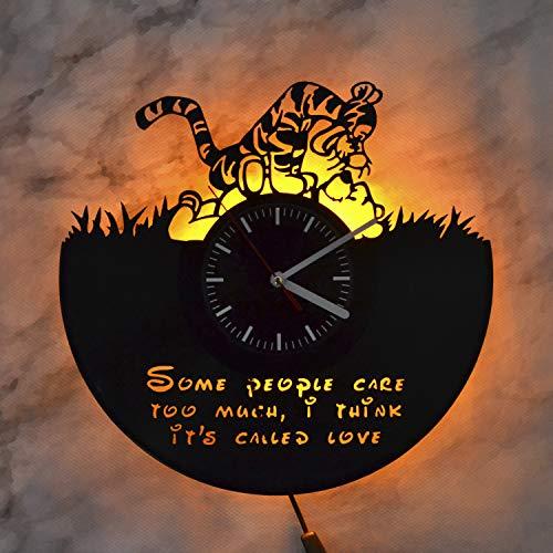 Winnie The Pooh Quote Winnie and Tiger Disney Art Night Light Wall Lights Vinyl Record Wall Clock Wall Art Decor Vinyl Record Art Home Design Nursery Decor Modern Wall Clock ()