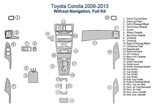 Toyota Corolla Full Dash Trim Kit, Without Navigation - Oxford Burlwood