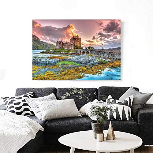 Warm Family Scenery Modern Canvas Painting Wall Art Dreamy Ancient Times Middle Age Inspired Princess Castle Near Lake Stones Moss Art Stickers 48