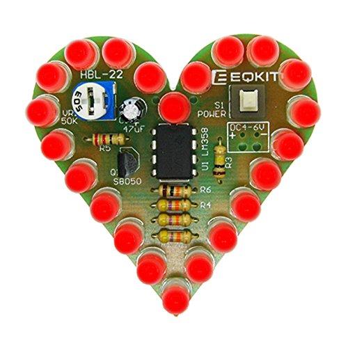Icstation Heart Shape Red LED Flashing Lights Kit Electronics Soldering Practice Set