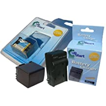 UpStart Battery New - Fully Decoded BP-808 Replacement 2 Batteries+Charger Kit for Canon Camcorders