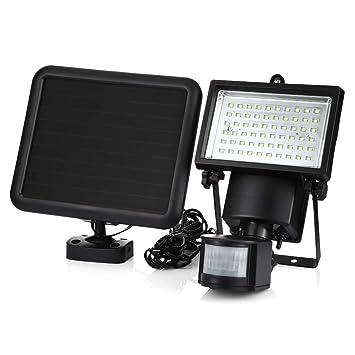 EbuyChX SL - 60 LED Super Brillante a Prueba de Agua con energía Solar PIR Detector de Movimiento Negro: Amazon.es: Hogar