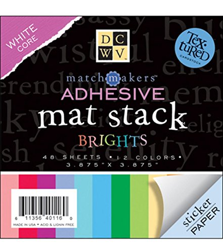 DCWV Adhesive Mat Stack, Match Makers Brights, 48 Sheets, 3-7/8 x 3-7/8 inches