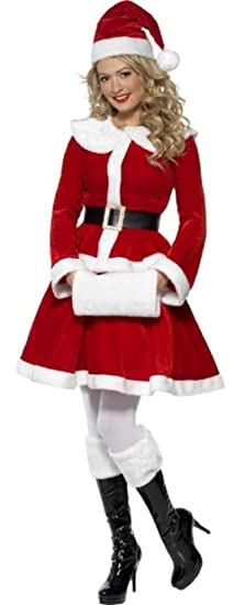 a8279c65f Ladies Deluxe Miss Santa Claus Classy Traditional Christmas Xmas Festive  Fancy Dress Outfit Costume (UK