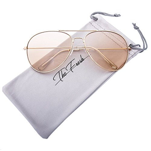 Halloween Contacts Prescription (The Fresh Classic Metal Frame Light Color Lens XL Oversized Aviator Sunglasses with Gift Box (4-Glod, Brown))