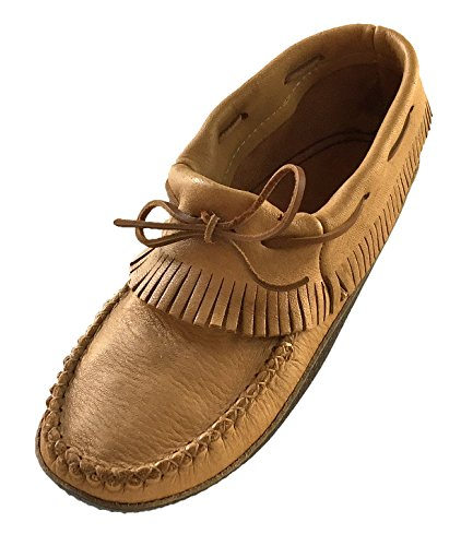 Bastien Industries Men's Fringe Moose Hide Leather with Heavy Oil Tan Sole Earthing Ankle Moccasins (10)