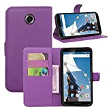 Nexus 6 Case, Fettion Premium PU Leather Wallet Flip Phone Protective Case Cover with Card Slots and Magnetic Closure for Google Motorola Nexus 6 Smartphone (Purple)