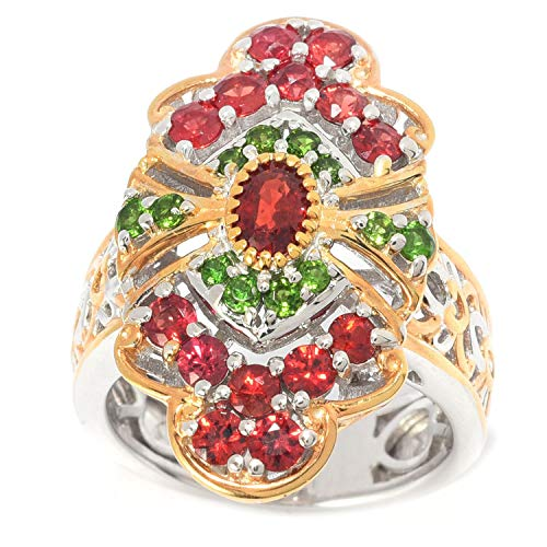 (Michael Valitutti Palladium Silver Songea Blood Orange Sapphire & Chrome Diopside Ring)