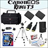Accessory Starter Package For Canon EOS Rebel T3 With 48'' Professional Travel Tripod, Gadget Bag, 16GB SDHC High Speed Memory Card and More!