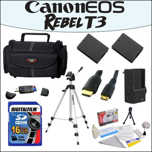 Accessory Starter Package For Canon EOS Rebel T3 With 48'' Professional Travel Tripod, Gadget Bag, 16GB SDHC High Speed Memory Card and More! by 47th Street Photo