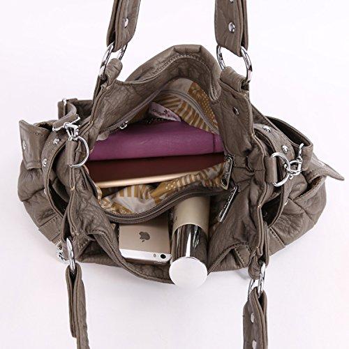 2 Cremalleras Superiores Bolsillos Multi Bolsos Lavados Bolsos de Cuero Bolsas de Hombro Mujer AK19244/2 gris