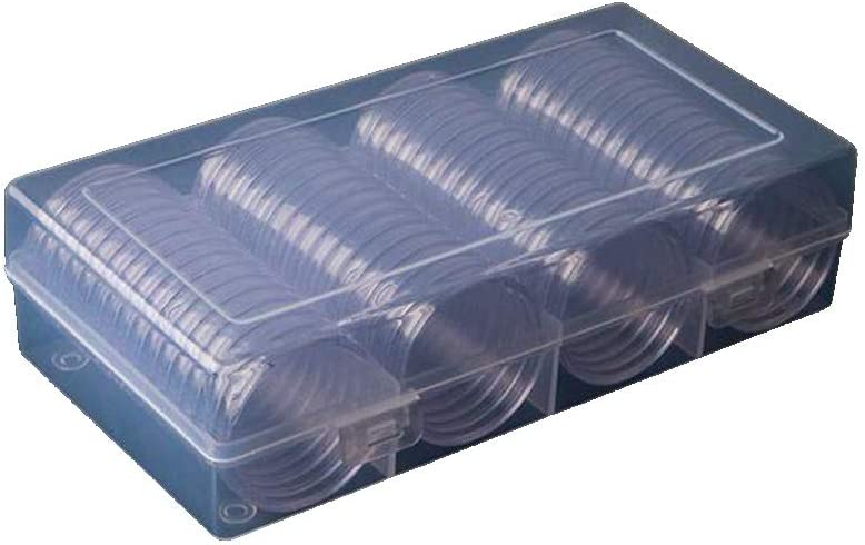 100x Coin Clear Plastic Round Storage Box 18mm Cases Capsules Holder-Collection
