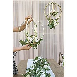 Ling's moment Floral Wreaths Set of 2 Blush Rose Artificial Flower Wreaths for Wedding Greenery Backdrop Hanging Decor 2