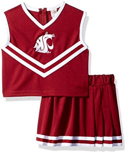 (Little King NCAA Washington State Cougars Two Piece Cheer Dress, 4 Tall, Crimson)