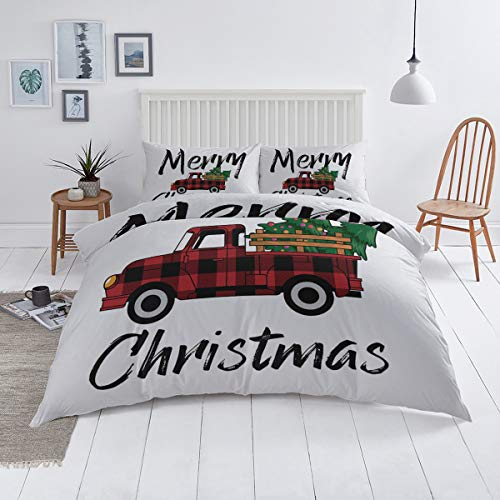 KAROLA 3 Piece Duvet Cover Set Soft Lightweight Microfiber Bedding Sets Comforter Cover with Zipper Closure,Rustic Red Christmas Truck and Xmas Tree Farmhouse Style California King(90