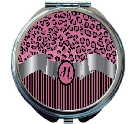 Rikki Knight Letter''H'' Light Pink Leopard Print Stripes Monogram Design Round Compact Mirror by Rikki Knight