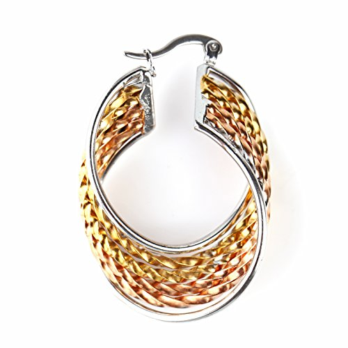 - United Elegance - Contemporary Polished Twisted & Braided Tri-Color Silver, Gold & Rose Tone Hoop Earrings