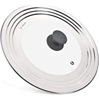 WISH Universal Pan Lid Pot Lid for All 8.25 Inch to 12.5 Inch Pots/Pans/Woks, Stainless Steel and Glass Lid for Lodge Cast Iron Skillets Frying Pans - Upgrated Silicone Knob