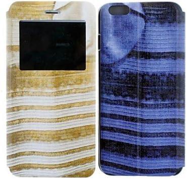 Wqq Blau Und Schwarz Weiss Und Gold Kleid Design Pu Leder Full Body Schutzhulle Fur Iphone 6 Amazon De Elektronik