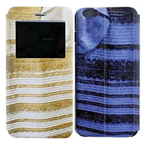 ZXSPACE Blue and Black&White and Gold Dress Design PU Leather Full Body Case for iPhone 6 , Blue