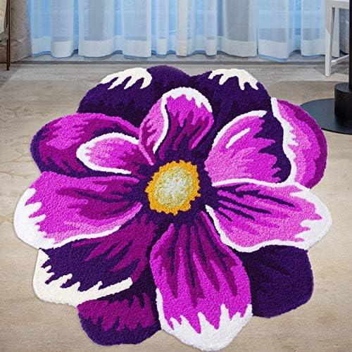 Hughapy Purple and White Flower Design Area Rug Bedroom Living Room Mat Antiskid Doormat Carpet 26 X 26 Inch / Hughapy Purple and White Flower Design Area Rug Bedroom Living Room Mat Antiskid Doormat Carpet 26 X 26 Inch