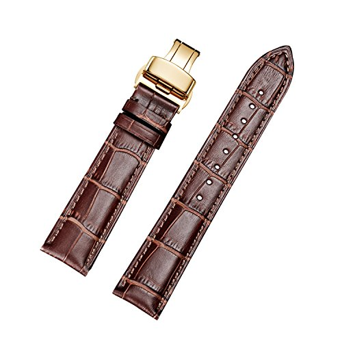 Brown Watch Band Gold Clasp - EHHE ZPF Calfskin Leather Replacement Watch Bands with Gold Deployment Buckle for Men and Women 18mm-24mm