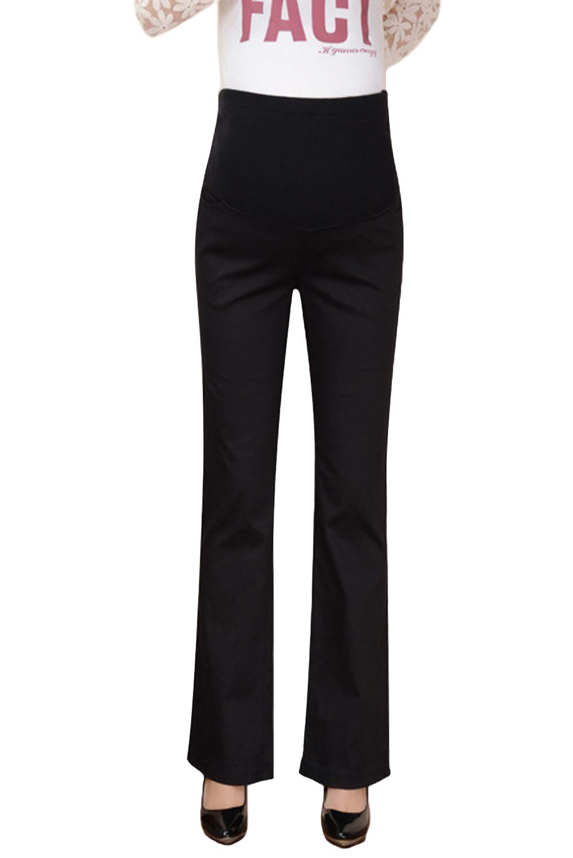 dda1d86c2d9cd Maternity Dress Pants Work Office Career High Waist Over The Belly Trousers  for Women Black L
