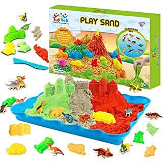 ToyVelt Play Sand Kit Dinosaur Toys, and Dinosaur Figures Set - Incl 14 Molds and 3 Bags of Sand Extra 12 Dinosaur Toys - Gift for Boys and Girls Age 3 -12 Years Old