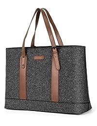 Women Laptop Tote Bag, 15.6 Inch Notebook Ultrabook Shoulder Bag Lightweight Nylon Briefcase Classic Handbag Handle Adjustable Work Travel Business Bag (Black)
