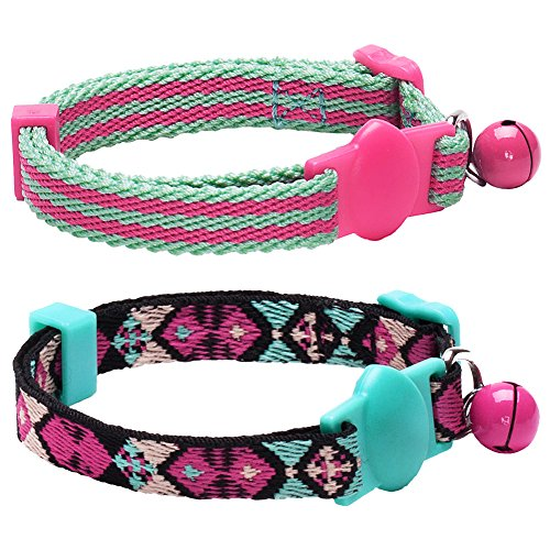 Blueberry Pet Pack of 2 Cat Collars, Geometric Design Adjustable Breakaway Cat Collar in Warm and Low-bright Colors with Bell, Neck 9