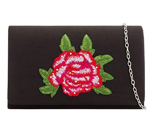 DIVA pour Noir satin Sac Argent décoration fête haute pochette neuf Diamant femmes 's Small mariage main floral à détail 54UFwqd