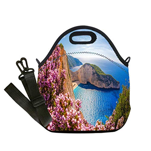 (Custom Digital Printing Insulated Lunch Bag,Neoprene Lunch Tote Bags Navagio beach with shipwreck on Zakynthos island in Greece custom Stylish Lunch Bag, Multi-use for Men, Women and Kids)