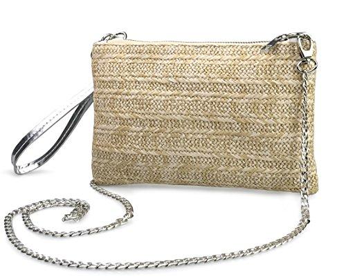 Straw Zipper Small Cross body bag Wristlet Clutch Womens Purse (Silver)