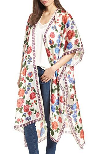 - Hibluco Women's Floral Kimono Cardigan Sheer Tops Loose Blouse Cover Ups