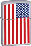 Zippo Lighters FLAG American Logo Zippo Lighter with Brushed Chrome Finish